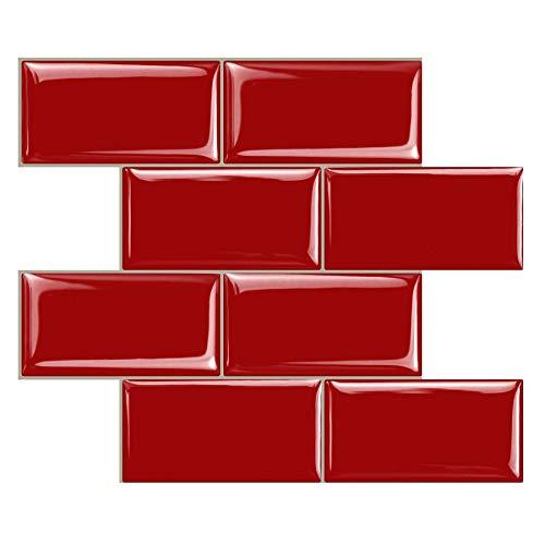 STICKGOO - Adhesivos para azulejos engrosados, adhesivos decorativos impermeables para azulejos para cocina y baño, 30,5 cm * 30,5 cm (rojo -10 piezas)
