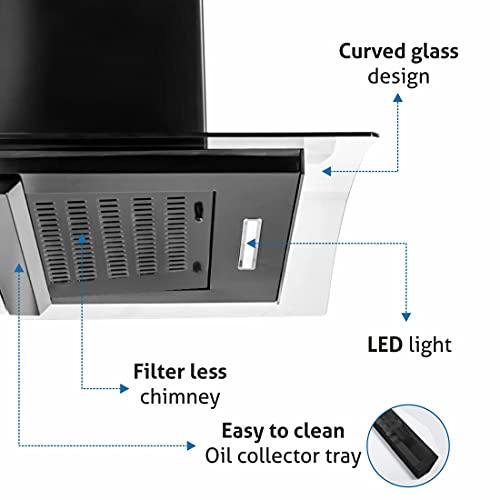 GLEN 60 cm 1050m3/hr Auto-Clean curved glass Kitchen Chimney Filterless Motion Sensor Touch Controls (6060 Black)