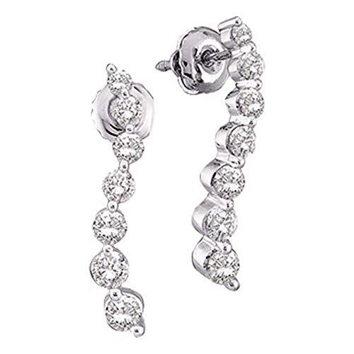 Jewels by Lux - Pendientes de tuerca de oro blanco de 14 quilates con diamantes redondos para mujer,...