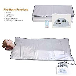 TEAMER Body Shaper Weight Loss Far Infrared Sauna Blanket, 2 Zone Controller Professional Detox Therapy Anti Ageing Beauty Machine Body