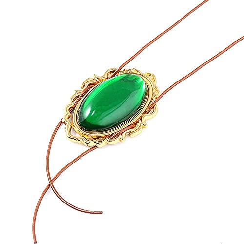 Collar de Cosplay dorado con piedra verde esmeralda en el centro de la juventud