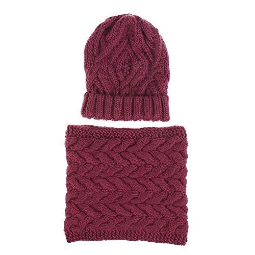 Heren gebreide mutsen en ronde sjaal voor de winter outdoor sport Wijn Rood