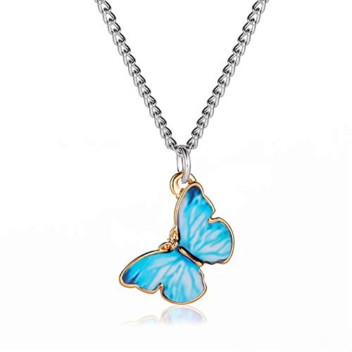 CUSROS Women Fashion Gradient Butterfly Necklace Bracelet Clavicle Chain Women Girls Jewelry Gift 2 One Size
