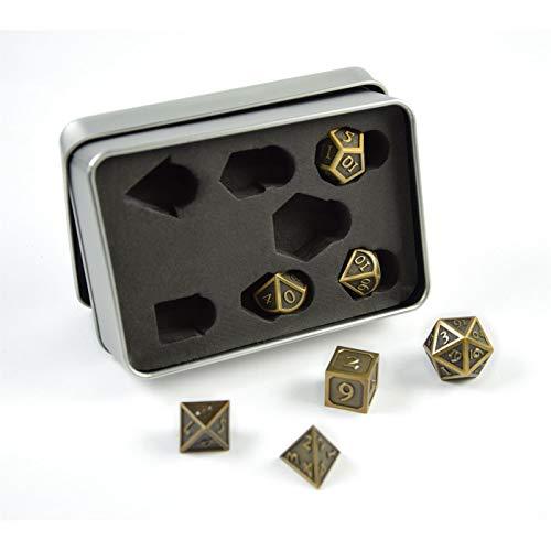 shibby 7 polyedrische Metall-Würfel für Rollen- und Tabletopspiele in Steampunk Gold-Optik inkl. Aufbewahrungsbox