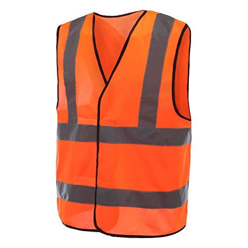 Mehrere Farben, Unisex hochsichtbare Warnweste Hohe Sichtbarkeit Warnweste Reflektierende Weste Sicherheitswesten EN ISO 20471 (XL, Orange)