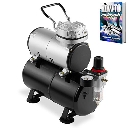 PointZero 1/5 HP Airbrush Compressor with Air Tank, Regulator, Gauge and Water Trap - Quiet Portable Pump