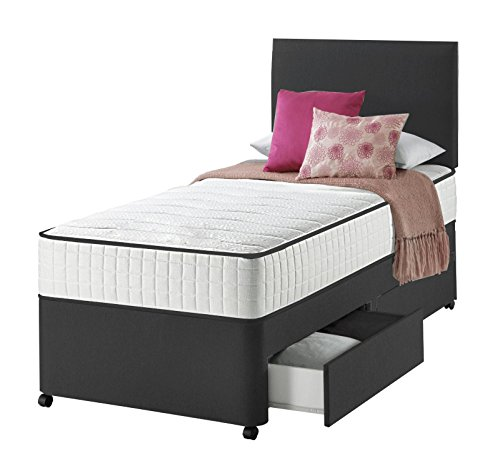Sleep Factory Ltd Black Single Divan Bed For Adult and Kids with Mattress with No Storage Option With Free Headboard (3FT No Storage)