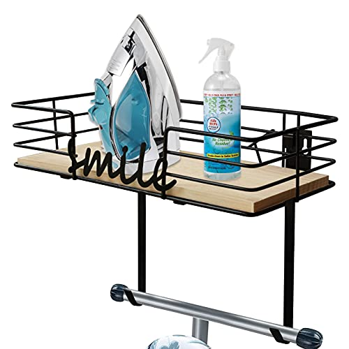 VRBFF Ironing Board Hanger Suitable All T/Y-Leg Ironing Board, Wall Mount Shelf Decorative Display, Iron and Ironing Board Storage Organizer with Large Storage Wooden Base Basket and Removable Hooks