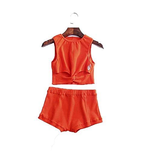 Yingm Frauen Yoga Trainingsanzug Frauen Solid Color Round Neck Yoga Wear Knopf Sporthohlfaden Strickweste Shorts Zweiteiler Frauen Damen Fitness Yoga Lauf Trainingsanzug (Farbe : Orange, Size : M)