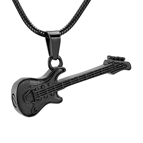 KBFDWEC Collar de cremación con Forma de Guitarra electrónica para Cenizas Joyería Conmemorativa Titular de Cenizas Colgante de Recuerdo
