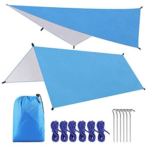Lona para tienda de campaña, 3 m x 3 m, ligera y resistente al agua, para senderismo, hamaca, mochilero, picnic, 6 clavijas de aluminio ultraligeras (3 x 3 m), color azul