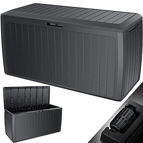 KESSER® Auflagenbox 290 Liter Mit Rollen Griffe 100 kg belastbar Smart Click System Truhe Gartenbox Kissenbox Anthrazit