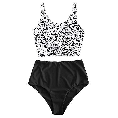 ZAFUL - Costume da bagno da donna leopardato, con stampa animale, a 2 pezzi Punto nero. L