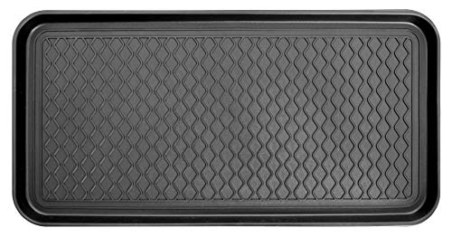 Ottomanson TRY400-30X15 Multi-Purpose Indoor & Outdoor Waterproof Tray, 15 x 30, Black