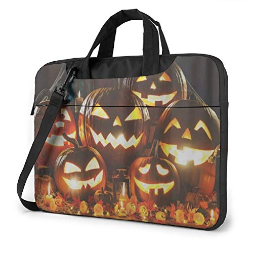 Halloween Pumpkin Head Jack Lantern with Burning Candles Laptop Bag Case Sleeve Briefcase Computer Organizer for Women Men 15.6'