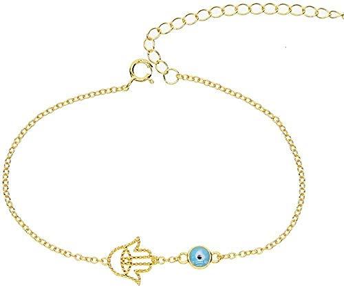 NC188 Collar de Plata con Mano de Hamsa, Pulsera de Mal de Ojo, Ojo de Pavo, Cadena de Buena Suerte, Brazalete de Mano, joyería para Mujer, Boda