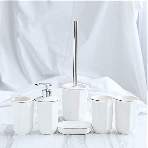 GANE Dispensador de jabón Accesorios de baño Decoración de Hotel, Juego de 4,5,6 Piezas Soporte de Cepillo de Inodoro de cerámica, Dispensador de loción, Jabonera, Soporte de Cepillo de Inodoro