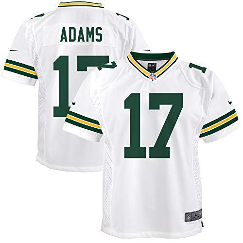 Nike Davante Adams Green Bay Packers NFL Boys Youth 8-20 White Road On-Field Game Day Jersey (Youth Medium 10-12)