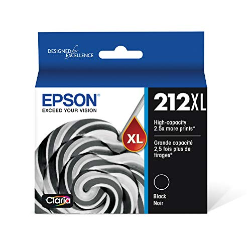 Epson T212XL120 Expression Home XP-4100 4105 Workforce WF-2830 2850 212XL Ink Cartridge (Black) in Retail Packaging