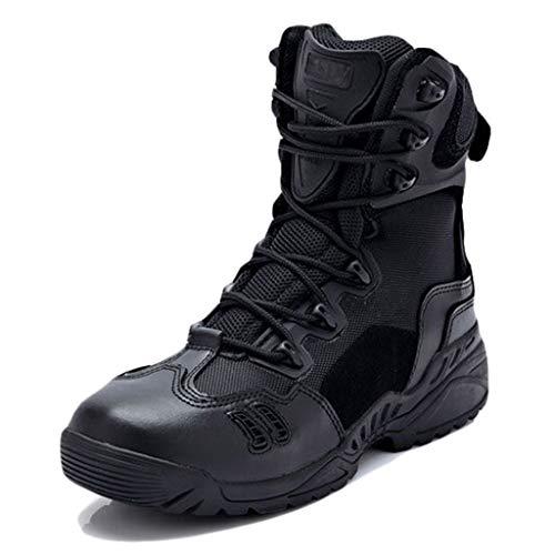 Wygwlg Hommes Militaire Bottes de Combat Cheville Armée Chaussures Casual Randonnée en Plein Air Désert Patrouille Haute Top Marche Escalade Sneakers,Black-39