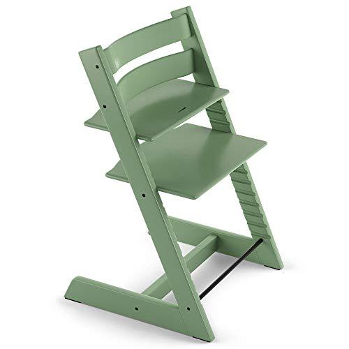 TRIPP TRAPP® sedia evolutiva per neonati, bambini, adulti │ Seggiolone in legno di faggio regolabile in altezza │ Colore: Moos Green