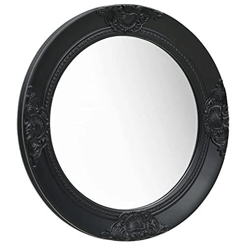 vidaXL Wandspiegel im Barock-Stil Antik mit Montagehaken Hängespiegel Dekospiegel Badspiegel Spiegel Flurspiegel Garderobe Rund 50cm Schwarz