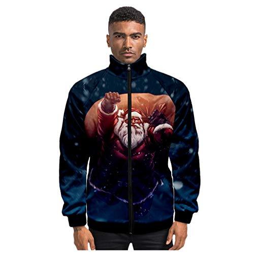 MAYOGO Jacke Herren Weihnachten 3D Fun Jacke Winterjacke Sweatjacke Full Zip Sweatshirt Softshell Jacke mit Stehkragen