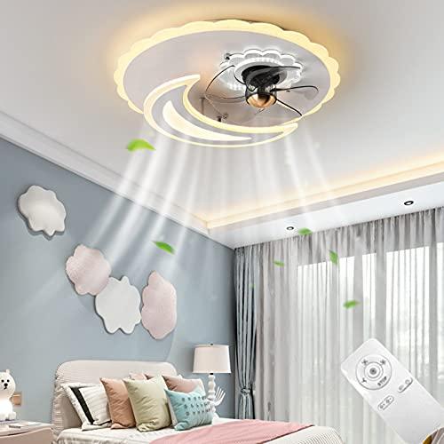 VOMI Regulable Ventilador De Techo Con LED Luz Ajustable Velocidad del Viento Ultra Silencioso Lampara LED Plafones Control Remoto Interruptor 95W para Dormitorio Sala de Estar Comedor Blanco