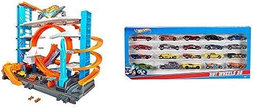 Hot Wheels FTB69 City Ultimate Parkgarage, Garage und Parkhaus mit Hai für +90 Autos &  Wheels H7045 - 1 64 Die-Cast Fahrzeuge, mittelGrößes Auto Geschenkset