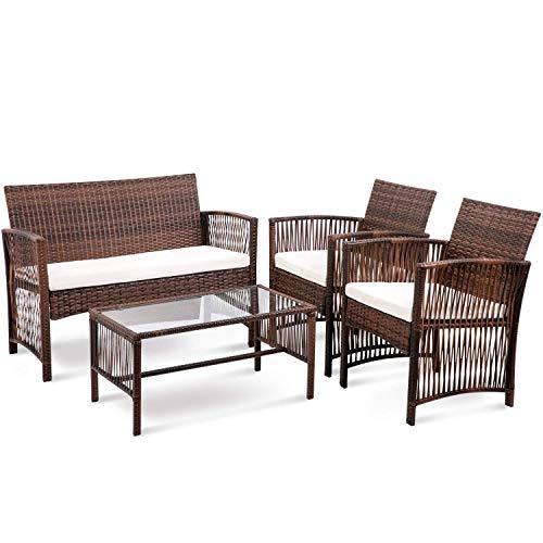 Furniture 4Pcs Rattan Patio Furniture Set Lazy Sofa Wicker Conversation Set Garden Lawn Indoor Outdoor Sofa Set household products