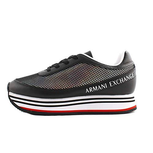 A|X Armani Exchange Damen LACE UP Sneaker Turnschuh, Schwarz 222, 39 EU