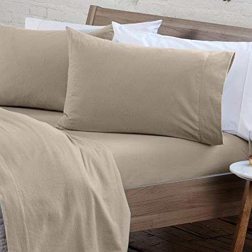 4 Piece Extra Soft 100% Turkish Cotton Heavyweight Flannel Sheet Set. Warm, Cozy, Luxury Winter Deep Pocket Bed Sheets. Raye Collection (Full, Taupe)