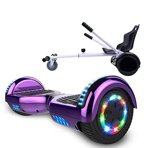 COLORWAY 6,5 Zoll Hover Scooter Board Elektro Scooter Smart Scooter Self Balance Board - Bluetooth - LED Räder - 350W*2 Motor mit Hoverkart (Lila-Kart Weiss)