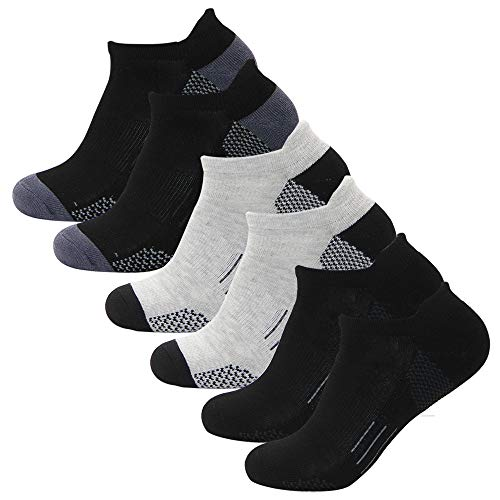 ZISION Men's Ankle Athletic Socks 6 Pack Moisture Breathable Performance Low Cut Cotton Cushion Sport Running Socks for Men