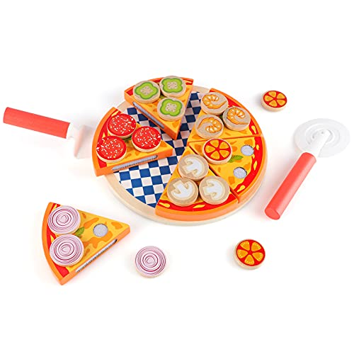 Steventoys Wooden Pizza Cutting Food,Pretend Play Food Toys,Kids Pizza Set,Fast Food Cooking Kitchen Educational Montessori Toys for Toddler,Kids