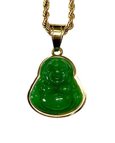 Mens Women Laughing Buddha Green Jade Tiny Pendant Necklace Rope Chain Genuine Certified Grade A Jadeite Jade Hand Crafted, Jade Necklace, 14k Gold Finish Laughing Jade Buddha Necklace, Jade Medallion, Buddha Chain, Buddha Statue 18' Necklace