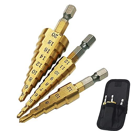 3 unids Titanium Coated Step Drill Bit 4-12 4-20 4-32 Perforación Herramientas Eléctricas Metal Acero Alta Velocidad Madera Agujero Cortador Cono Taladro-3PC4-12 3-12 4-20P