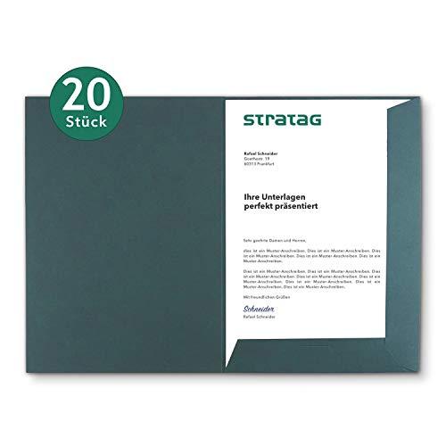 Präsentationsmappe A4 in Tannengrün 20 Stück (wählbar) - erhältlich in 7 Farben - direkt vom Hersteller STRATAG - vielseitig einsetzbar für Ihre Angebote, Exposés, Projekte oder Geschäftsberichte