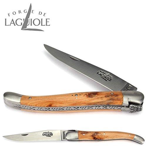 Forge De Laguiole Taschenmesser - 12 cm - Griffschalen Wacholder - Backen und Klinge 10 cm matt
