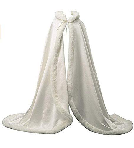 vipgowns Weiß Braut Umhang Brautkleid Mantel Kapuzenumhang Umhang Brautumhang Wizard Mantel in voller Länge (Ivory, Einheitsgröße)