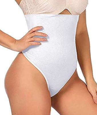 ShaperQueen 102 Thong - Womens Waist Cincher Body Shaper Trainer High-Waisted Girdle Faja Tummy Control Panty Shapewear (L, White) from