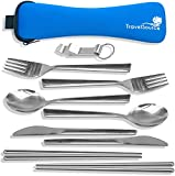 2-Person Stainless Steel Portable Eating Utensils Set - for Camping and Travel with Case, Bottle Opener & Chopsticks - TravelSource