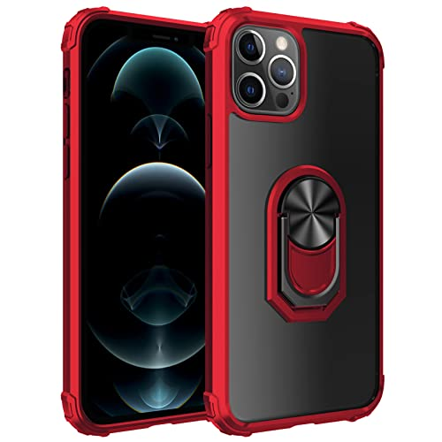 Funda para iPhone 13 Pro con Soporte para Anillo Pata De Cabra, Protección contra Caídas, A Prueba De Golpes, Funda para Teléfono Funda Protectora para Teléfono,Rojo,FOR iPhone 13pro