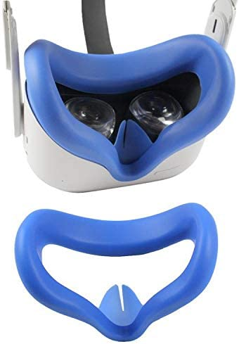 Oculus Quest 2 Silicone Face Cover Sweatproof Light Blocking (Washable) for Virtual Reality Headset 2021 (Blue)