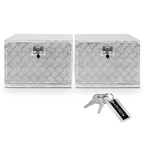 ARKSEN Set of 2 24' Aluminum Truck Underbody ToolBoxes Durable Pickup Trailer Storage Organizer Tool Box Key Lock