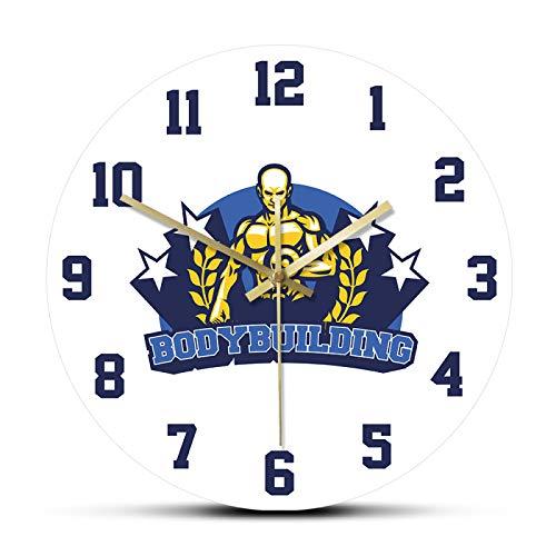 xinxin Reloj de Pared Bodybuilding Fitness and Gym Center Reloj de Pared de Cuarzo Reloj Relojes Silent Living Room Decoración Sport Horologe Sala de Estar y Dormitorio, etc.