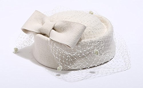 Pillbox Hat Fascinator Beret Wedding Party Top Hat Church Wool Hat for Women (Ivory)
