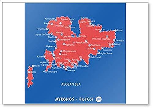 Eiland Mykonos in Griekenland Rode Kaart Illustratie Koelkast Magneet