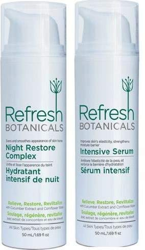 Refresh Botanicals Twin Pack Extra Care Kit Night Restore Complex and Intensive Serum Natural and Organic