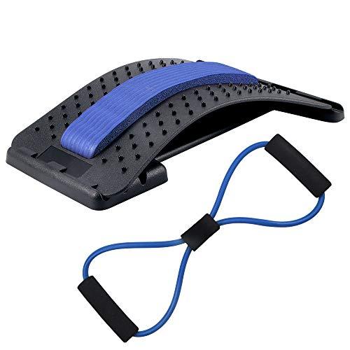 Prenine Rückenstrecker + Zugseil Fitness Kits ,3 Stufen Einstellbar Rückenmassage Back Stretcher für Rückenschmerzen, Haltungskorrektur, Formgebung (Blau)